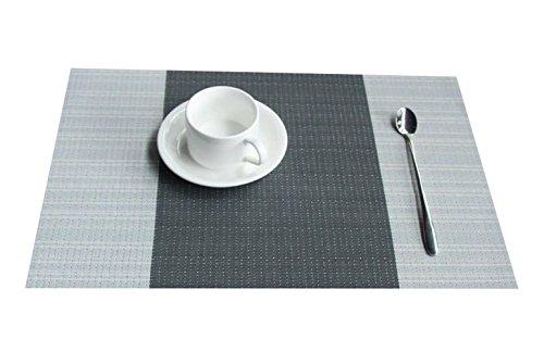 (FOOKREN Tischmatten, Zwei Farben Tischsets 4er Set,PVC Platzsets Stoff, Abwaschbar Hitzebeständig Rutschfeste Tabellenplatzmatten für küche Speisetisch Platzmatten 30x45cm D-10018 (Grau))