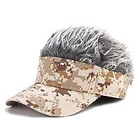 GuanjunLI 1Pc Mes Wearing Wig Baseball Cap, Fake Flair Hair Baseball Cap Sun Visor Fun Halloween Party Toupee Hat