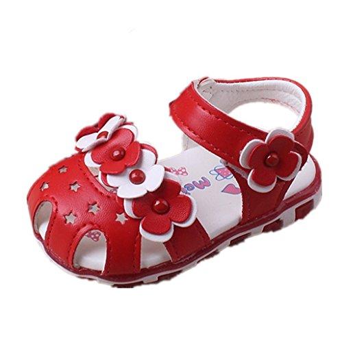 Auxma Fleurs creuses sandales à semelle souple princesse chaussures bébé chaussures d'été Firstwalker Illuminated (12-18 M, blanc) B