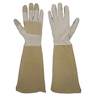 Handlandy Long Gardening Gloves for Men and Women, Pigskin Leather Rose Pruning Gloves- Breathable & Durability, with Thorn Proof Gauntlet