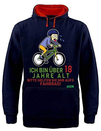 HARIZ Hoodie Kontrast ber 18 Bitte Helfen Sie Mir Aufs Fahrrad 18 Geburtstag Volljährig Achtzehnter Plus Geschenkkarten Navy Blau/Rot XXL