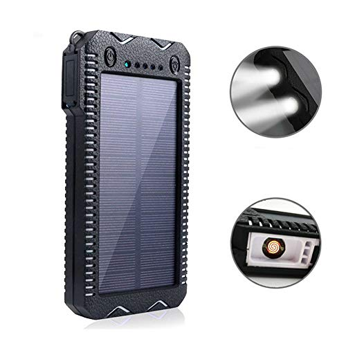 Solar-Ladegerät 20000mAh Portable Solar Power Bank LED-Taschenlampe Dual USB 2.1A für Outdoor-Aktivitäten