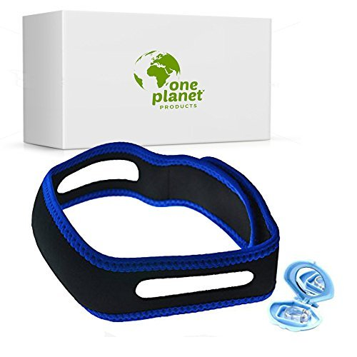 Anti-Snore Chin Strap Clip by One Planet, with Anti-Snore Nose Clip, Stops Heavy Breathing & Enjoy Restful Quality Sleep, Adjustable Wide Chin Straps For Comfortable Use, Sleep Better Now! by One Planet Products