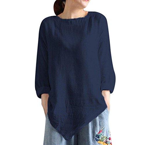 Xiantime Damen Bluse Frauen Sommer Vintage Baumwolle Leinen Langarm-Shirt Beiläufig Lose Bluse Tee Top S-XXL