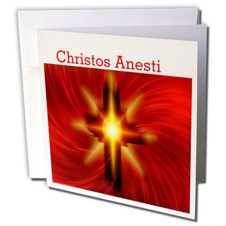 3drose Bild von Happy Ostern in der griechischen mit Rot Fiery Kreuz–Grußkarte, 15,2x 15,2cm Single (GC 235442_ 5)