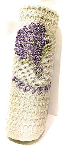 Cotton Blanc Geschirrtuch, Bestickt - Provence, Blumenstrauß Lavendel - Hellgrün - Geschirrtücher Lavendel