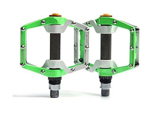 HOUHOUNNPO Pedale Aluminium Durable Professional Ersatzteile Ersatz für Mountainbike (Grün und Weiß)