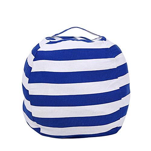 Milnut sur Toile à Rayures en Peluche de Rangement Pouf Enfants en Peluche Vêtements couettes Organiseur-40cm, Navy Blue L, 61 * 61CM