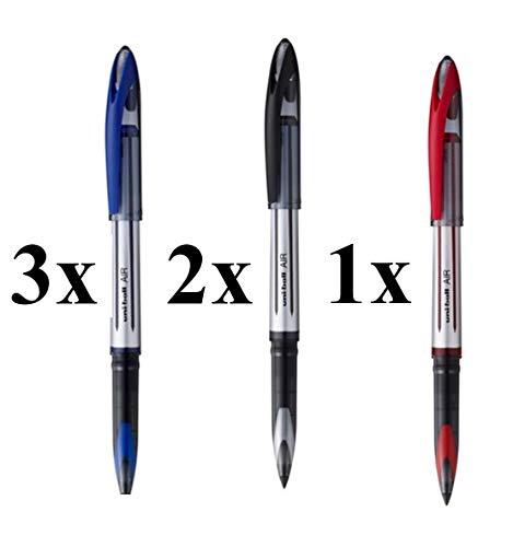 Uni-ball Air 6 pezzi (3 blu, 2 nero, 1 rosso).
