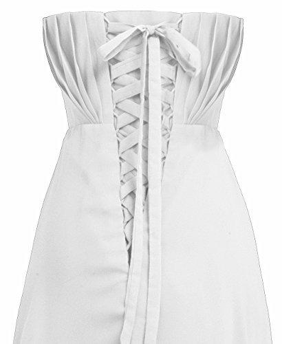 FAIRY COUPLE - Robe De Soirée Longue Bustier En Mousseline Ornée de Strass - D0004 Blanc