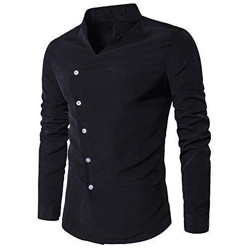 KPILP Hemd Herren Oberteile Fashion Outwear Persönlichkeit Lässig Schlank Langarmhemd Top Stilvolle Bluse(Schwarz,EU-56/CN-2XL)
