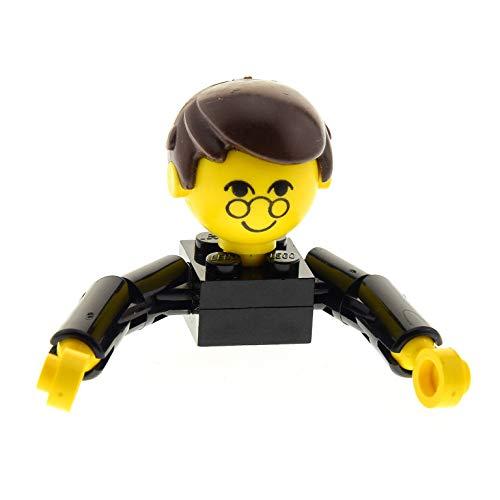 Bausteine gebraucht 1 x Lego System Homemaker Großkopf Figur Mann Vater Opa Lehrer Kind Junge Torso schwarz Gesicht mit Brille Arme lang Haare kurz mit extra Halter 685px2c01