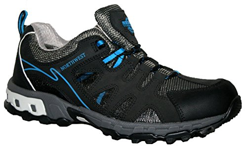 Caminata Senderismo Trekking Zapatos Botas piel Impermeable Zapatillas - Negro/Azul, 45
