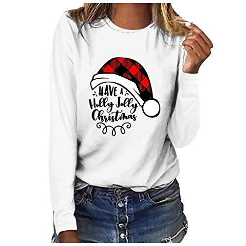 Xmiral Bluse Langärmliges T-Shirt Damen Drucken Rundhals Slim Fit Sweatshirt Weihnachten Tops Grundierung Pullover(b Weiß,L)