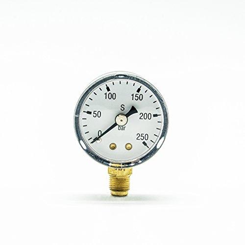 CO2 Flaschendruck Manometer für Druckminderer Ersatzmanometer 0-250 bar 1/8