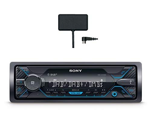 Sony DSX-A510KIT DAB+ Autoradio mit Antenne, Dual Bluetooth, NFC, USB und AUX Anschluss | blaue Beleuchtung | Freisprechen