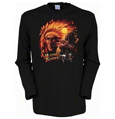Herren Langarm-Shirt ::: Blazing Thunder ::: für echte Biker Schwarz