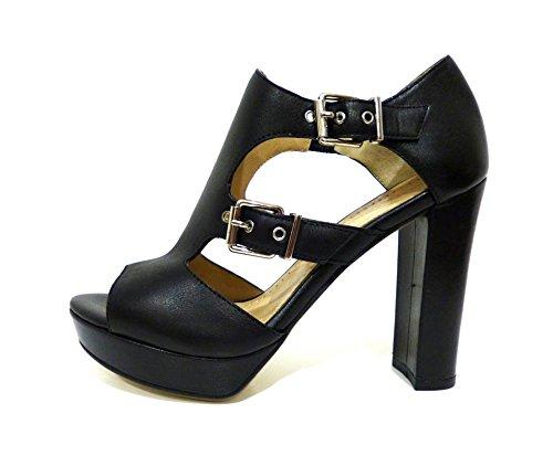 Bruno Premi F6003N sandali tronchetti estivi pelle neri con tacco alto e fibbie n° 35