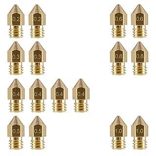 3D Drucker Extruder Düse MK8 AOJIA für Makerbot Krealität CR-10 Messing Düsen Druckköpfe 7 Größe 0,2mm 0,3mm 0,4mm 0,5mm 0,6mm 0,8mm 1,0mm 16 Stück 1,75mm PLA