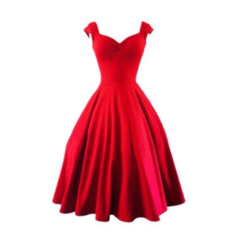 BOMOVO Vestidos Para Mujer Vintage Años 50 Casual Coctel Retro 1950'S Vestido de cóctel sólido