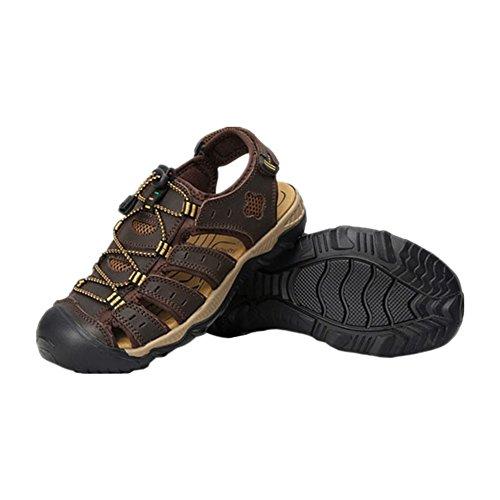 Meijunter Männer Beiläufig Strandschuhe Sandalen Wasserdicht Leder Hausschuhe Draussen Sport Schuhe Dunkelbraun