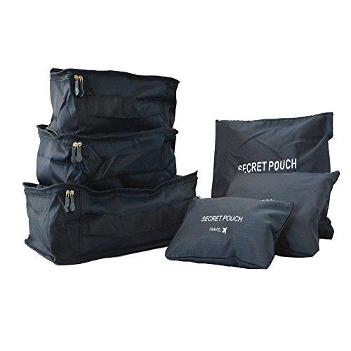Klome 6-teiliges Set Kleidertasche Koffertasche Wäschebeutel Packing Cubes Packtaschen Kofferorganizerfür Perfekt organisiertes Reisegepäck Schwarzblau