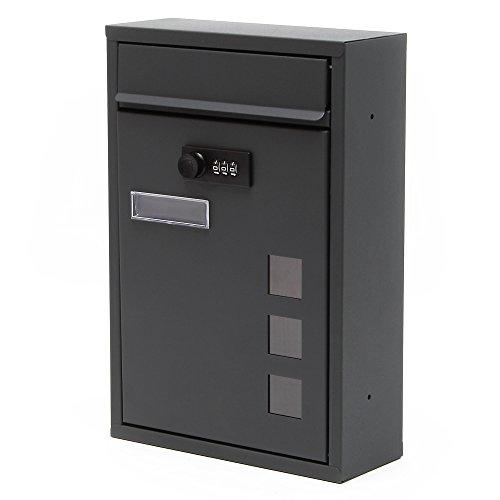 Moderner Briefkasten Anthrazit Zahlenschloss Wandbriefkasten pulverbeschichtet - 2