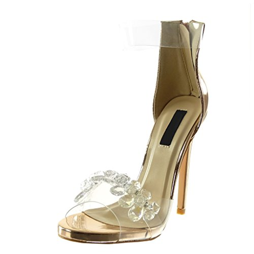 Angkorly Damen Schuhe Pumpe Sandalen - Stiletto - Knöchelriemen - Peep-Toe - Strass - Schmuck - Transparent Stiletto High Heel 13 cm - Champagner B7788 T 36