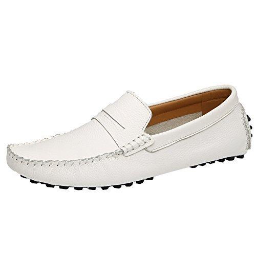 ODEMA de hommes Casual chaussures plats Conduite Mocassin Flâneur à enfiler en cuir Blanc - blanc