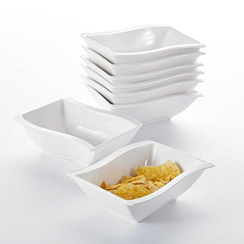 """MALACASA, Serie Flora, 8 teilig Set Cremeweiß Porzellan Schüssel Schalen Müslischüsseln Dessertschüsseln Suppenschüsseln je 5,75\""""/14,5 * 12 * 5cm für 8 Person"""
