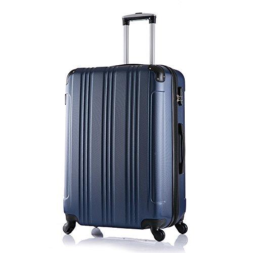 WOLTU RK4207bl , Reise Koffer Trolley Hartschale mit erweiterbare Volumen Reisekoffer Hartschalenkoffer 4 Rollen , M / L / XL / Set , leicht und günstig , Blau (XL, 76 cm & 110 Liter)