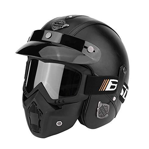 PU-Leder Motorradhelm, Halbhelm mit offenem Gesicht, mit Schutzbrille, Motorrad Scooter Roller Sturz Helm (M-Einfaches Schwarz)