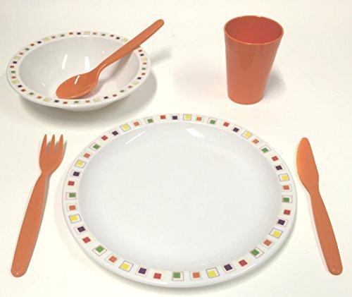 Harfield en plastique polycarbonate pour enfant Multicolore abstrait carrés Ensemble de vaisselle – Assiette, bol, Gobelet et couverts (Orange)