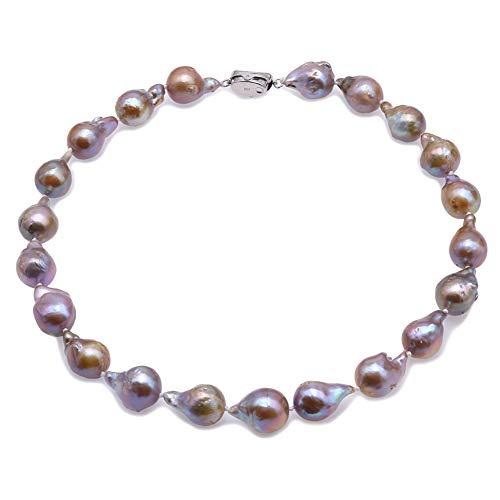 JYX Pearl perlen barock 13-20mm Natürliche Champagner Süßwasser Zucht Barock Perlenkette 18 Zoll
