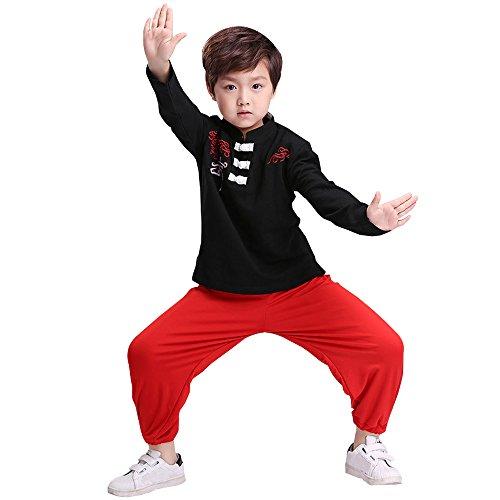 XFentech Unisex Mädchen Junge Tai Chi Kung Fu Tang Anzug Hose Hemd Set Kampfsportanzug Darbietungen Tanzkostüme