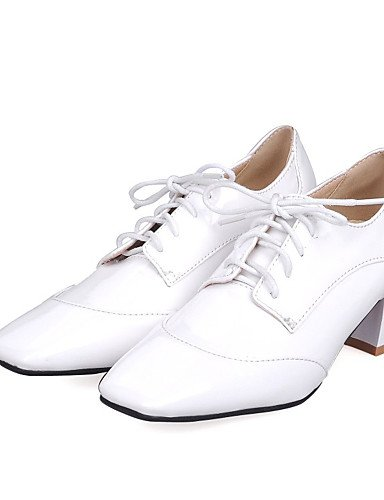 WSS 2016 Chaussures Femme-Bureau & Travail / Décontracté / Habillé-Noir / Rouge / Blanc-Gros Talon-Talons / Escarpin Basique / Bout Carré-Talons- white-us6.5-7 / eu37 / uk4.5-5 / cn37