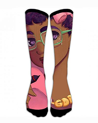 Women Classics Crew Socks Black Girl Afro Girl with Pink Bow Make Up Thick Warm Cotton Crew Winter Socks Personalized Gift Socks ()