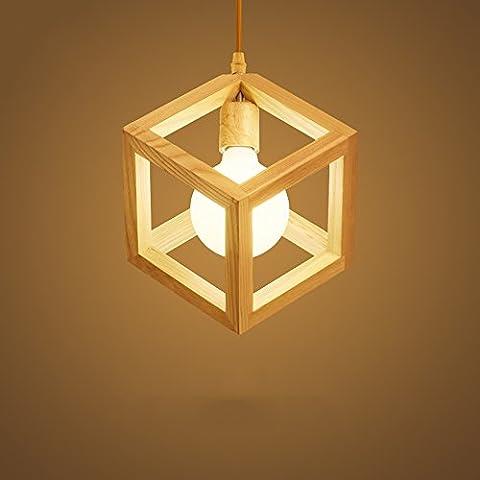 Neixy - Hollow Design Hölzerne Decken-Pendelleuchte, Geometrieform, E27 Birnenbasis, Nordic Japanese-style Single Head Kronleuchter