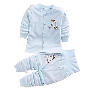 ATWFS Baby Clothing Sets, High Waist Pants +O-Neck Pajamas Sets (Blue, 6M)