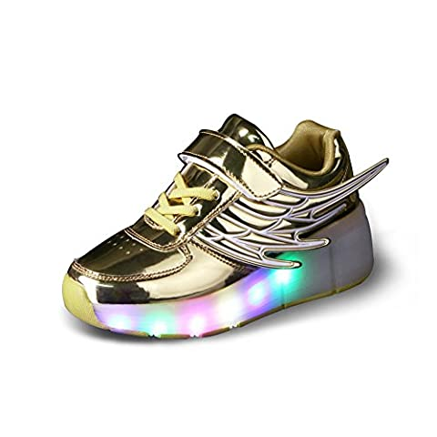 Luckly Grace Led Light up Wheel Roller Skate Shoes with Wings Retractable Outdoor Sport Flashing Sneaker for Boys Girls (1 UK,