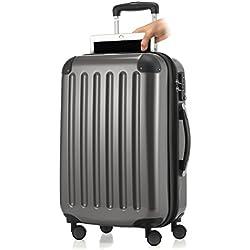 HAUPTSTADTKOFFER - Alex- Bagage à main cabine, Trolley rigide extensible avec Compartiment pour ordinateur portablel, TSA, 55 cm, 42 L, Titane