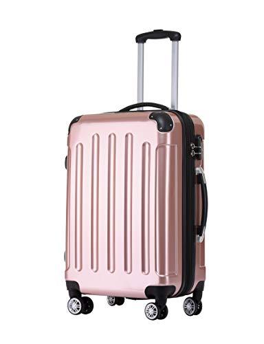 BEIBYE Zwillingsrollen 2048 Hartschale Trolley Koffer Reisekoffer in M-L-XL-Set in 15 Farben (Rosa Gold, M)