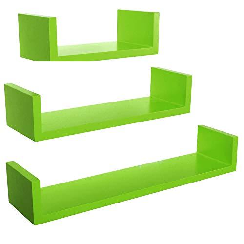 Lot 3 étagères murales Design cube Colorées Vert