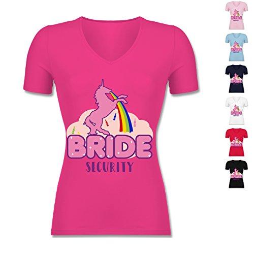 JGA-Junggesellinnenabschied-JGA-Bride-Security-Einhorn-tailliertes-T-Shirt-mit-V-Ausschnitt-fr-Frauen