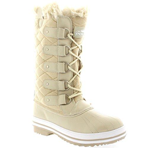 Damen Schnee Stiefel Nylon Tall Wasserdicht Gefüttert Regen Stiefel Beige Wildleder