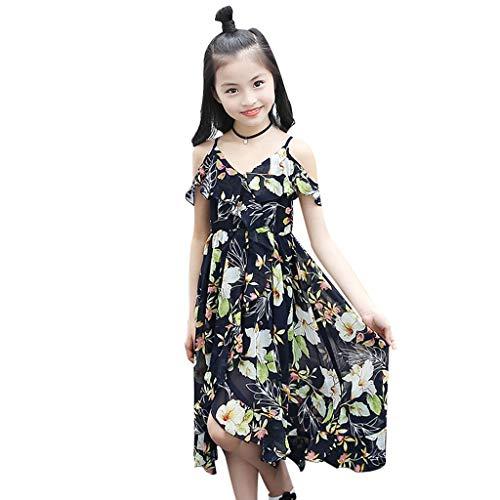 nder Mädchen Floral Rüschen Schulterfrei Böhmen Strandkleid Kleidung Festlich Mädchen für Prinzessin Spitzen Kleider Hochzeit Blumenmädchenkleid 104 116 128 140 152 164 ()