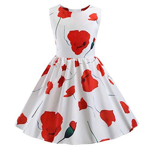 Livoral Mädchen ärmellose Print Prinzessin Puff Rock Kids Party Beauty Apparel Kleid(Rot,140)