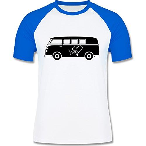 Autos - Bus T1 - zweifarbiges Baseballshirt für Männer Weiß/Royalblau