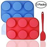 Silicone 6-cup muffin Mold bonus con spatola, Dakuan 3pz confezione o Fmuffin muffa e spatola, teglia, flessibile, cupcake, antiaderenti, lavastoviglie, forno, forno a microonde sicuro. Blu + rosso
