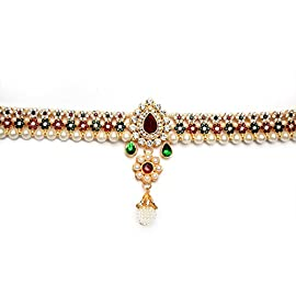 Beeline Rajwara Wedding Pearl And Kundan Traditional Belly Waistbelt | Multicolor Flower Beautiful Kamarbandh For Women